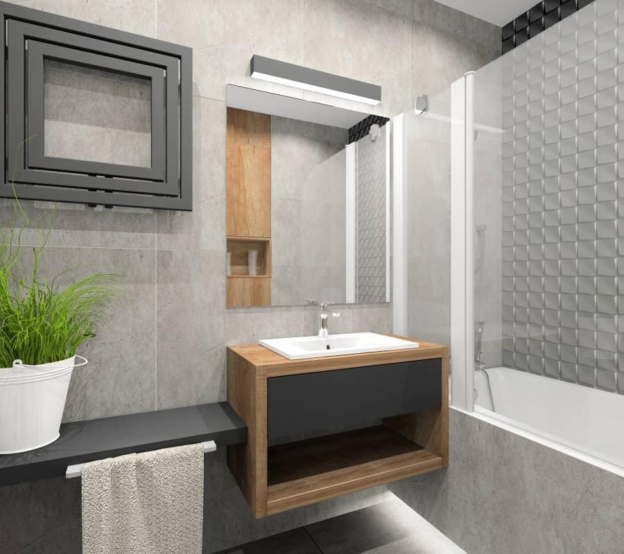 Aranżacja szarej łazienki: szare płytki i drewno z dodatkiem koloru czarnego