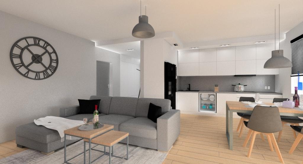 Funkcjonalny i piękny salon z kuchnią i hol, biała kuchnia, szafki do sufitu, blat i ściana grafitowa