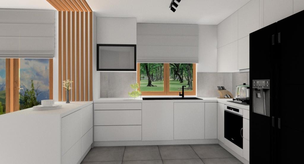Kuchnia: projekt wnętrza, kuchnia w literę U, drewniane okna, biało szara kuchnia, nowoczesna wnętrze, dekoracja ściany w drewnie