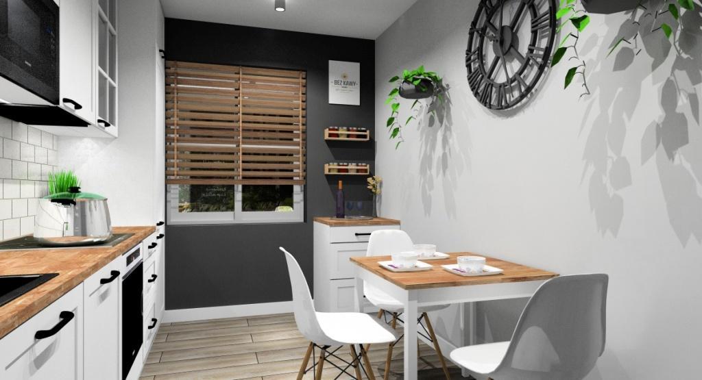 Kuchnia, skandynawska, stół drewniany, krzesła skandynawskie białe, zegar skandynawski, podłoga płytki drewnopodobne, roleta drewniana w oknie