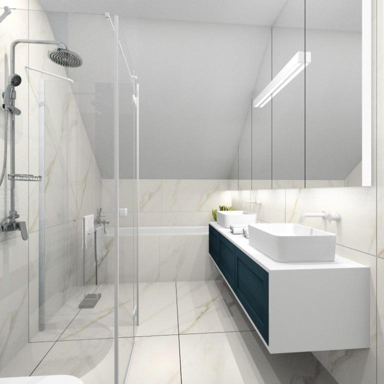Łazienka nowczesna, płytki imitujące marmur, wanna prostokątna, prysznic walk in, duże lustro nad dwoma umywalkami poswietlane led