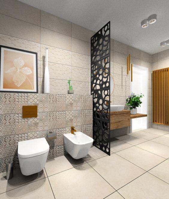 Łazienka nowoczesna w beżach, panel ażurowy oddzielający umywalki od wc