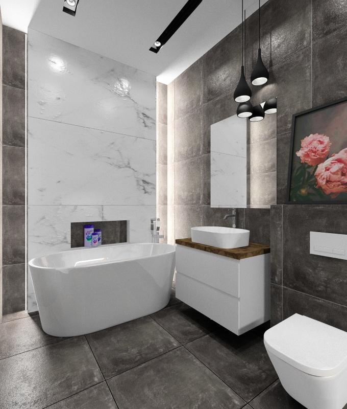 Łazienka z marmurem i betonem, projekt wnętrz łazienki, marmur na ścianie przy wannie wolnostojącej, płytki betonowe na ścianie z umywalką oraz podłodze