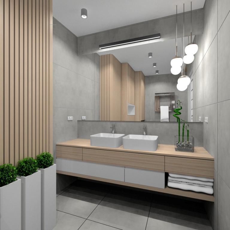 Łazienka, mała łazienka, styl skandynawski, duże lustro nad umywalkami, szafka biała z drewnem, jasne wnętrze z szarymi płytkami ceramicznymi