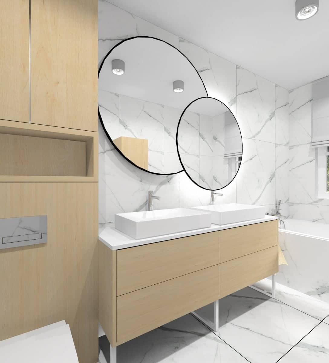 Łazienka z marmurem i drewenm, szafka pod umywalkę drewniana, płytki na ścianie marmurowe, projekt łazienki nowoczesnej