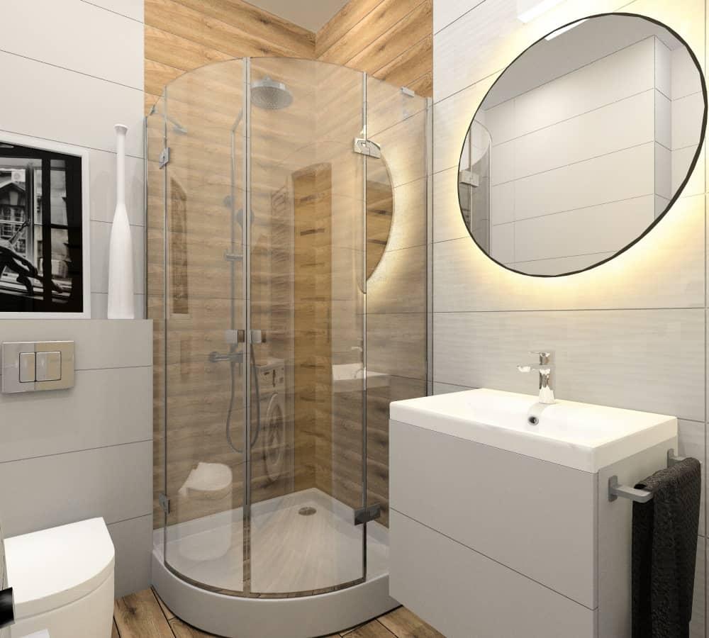 Łazienka, mała, prysznic, jasna, przytulna