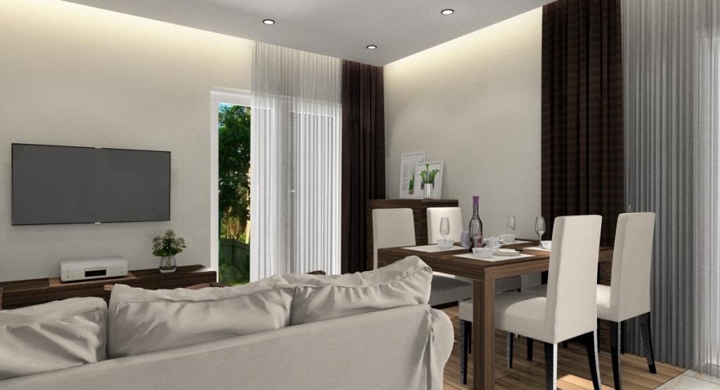 Małe mieszkanie, salon, piękny sufit podwieszany