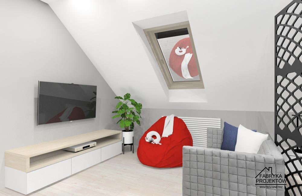 Szafka pod telewizor, sofa, puf czerwony, szafapomalowana farbą atablicową, duże biurko, duże łózko