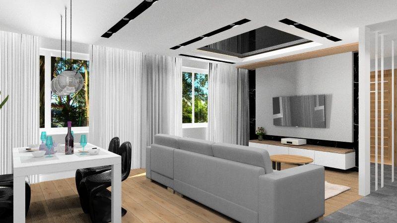 Salon, nowoczesna aranżacja, Czerń, biel, szarość z drewnem