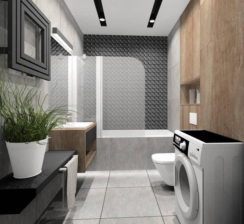 Nowoczesna łazienka: Szara łazienka z drewnem