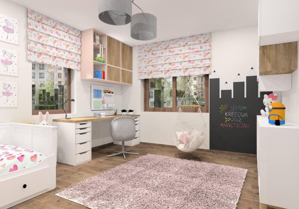 Pokój dla dziewczynki 8 lat, piękna i funkcjonalna aranżacja wnętrza