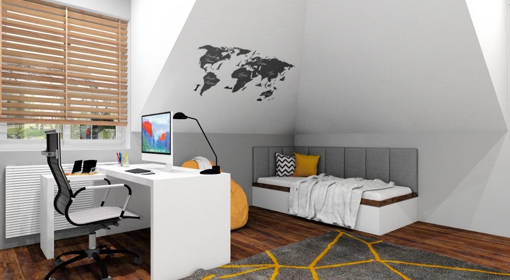 Pokój młodzieżowy, nowoczesny pokój dla chłopaka, pokój na poddaszu