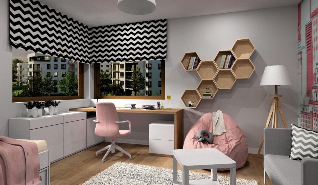 Nowoczesny pokoj młodziezowy dla nastolatki, średni pokój z oknem narożnym, aranżacja w kolorach, pudrowy róż, szary i drewno