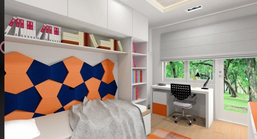 Pokój młodzieżowy dla nastolatka, chłopca, panele 3d na ścianie, biurko pod oknem