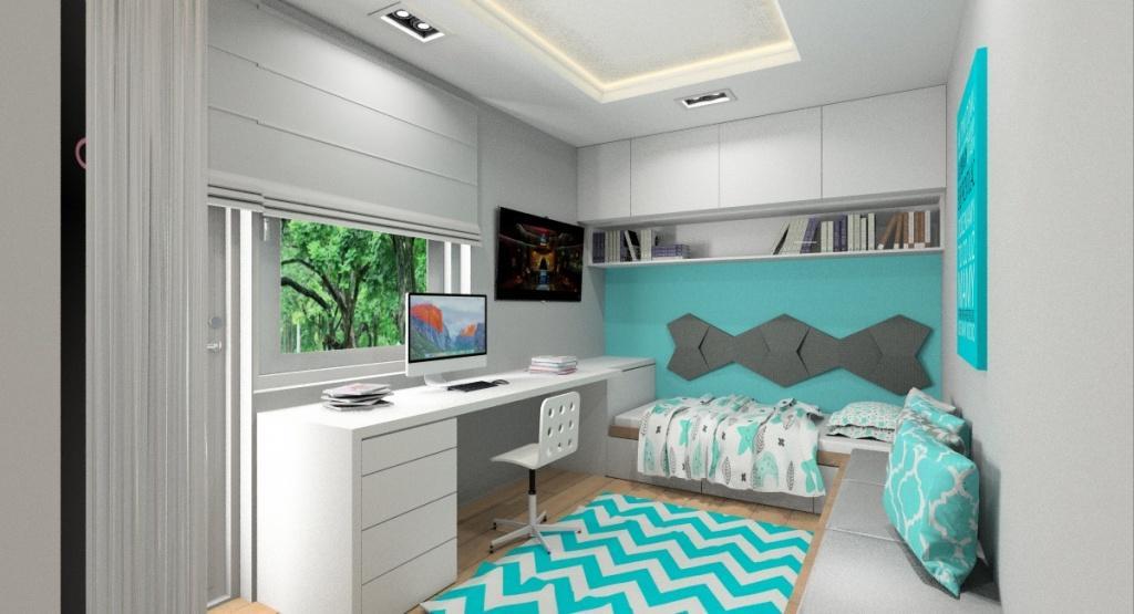 Pokój młodzieżowy dla nastolatki dziewczyny, wnętrze w kolorach, szary biały turkus, panele 3d na ścianie