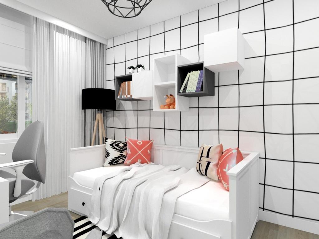 Pokój młodziezowy dla nastolatki, mały pokój, bardzo jasny, łózko białe, biurko małe białe, szafki nad łóżkiem, poduszki dekoracyjne na łózku, dywan czarny z białym