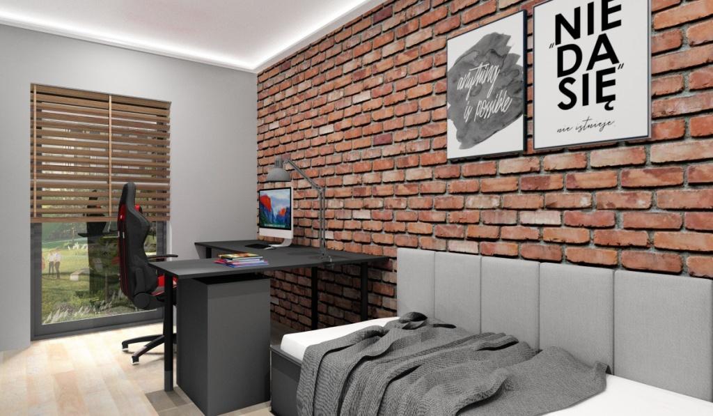 Pokój młodziezowy, styl industrialny, mały pokój, cegła na ścianie, łózko z panelami tapicerowanymi, biurko gamingowe narożne czarne, fotel dla gracza