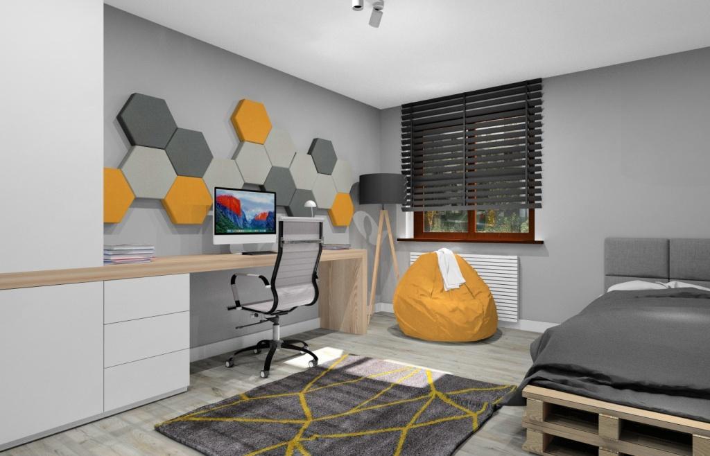 Pokój młodzieżowy z panelami 3D na ścianie, panele w kolorze żółty, szary, grafitowy