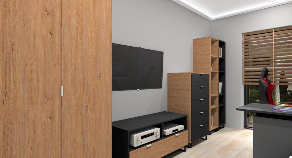 Pokój młodziezowy w stylu industrialnym, komoda, szafa, regał na książki, szafka rtv w kolorze drewnianym i czarnym, jasna podłoga