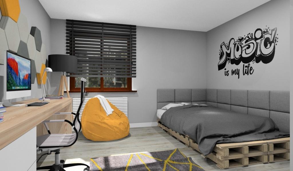 Nowoczesny pokój młodzieżowy, średni pokój, łóko z palet, grafiti na ścianie, panele 3d na ścianie nad biurkiem, duże biurko, kolory żółty, drewno, szary