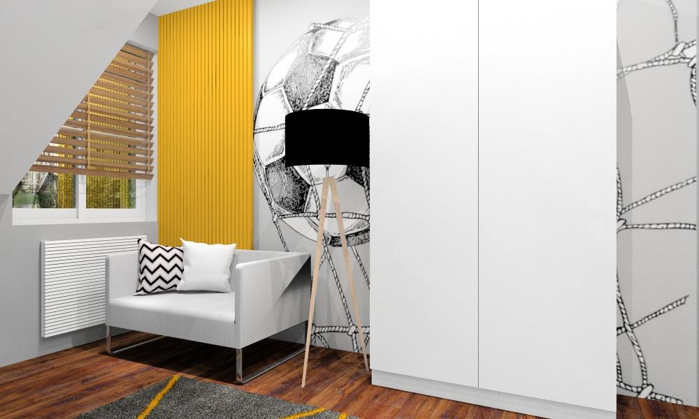 Pokój młodziezowy, tematyczny, piłka nozna, fototapeta na ścianie z piłka nożną