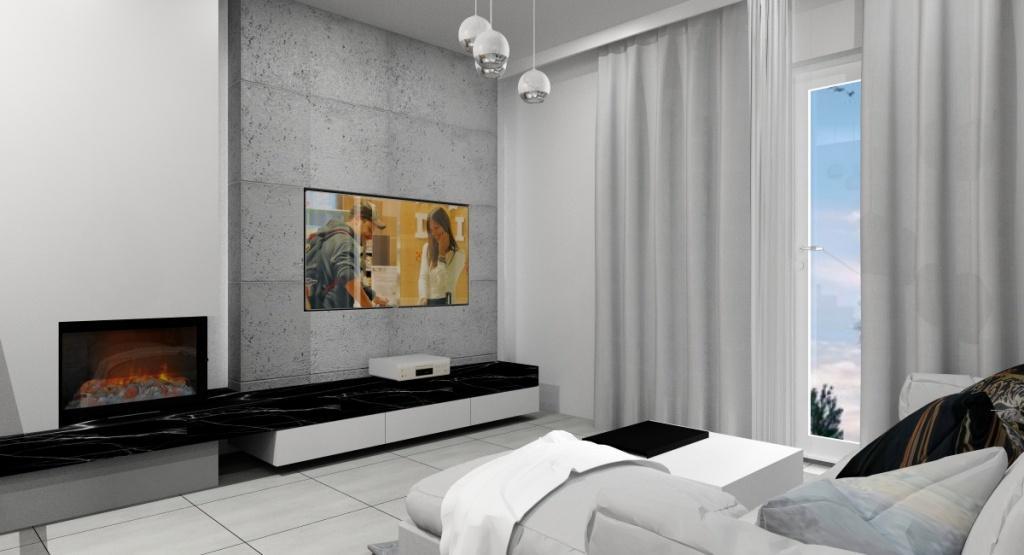 Pomysł na ścianę tv z kominkiem, beton na ścianie
