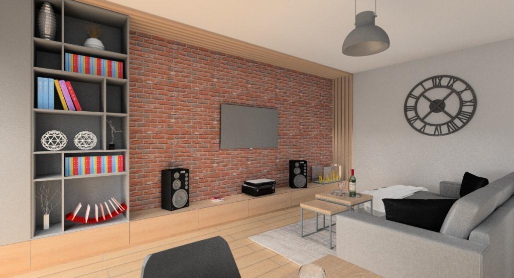 Projekt salonu z kuchnią i przedpokojem, cegła na ścianie, Panele drewniane na ścianie, regały na ścianie telewizyjnej, stolik kawowy industrialny