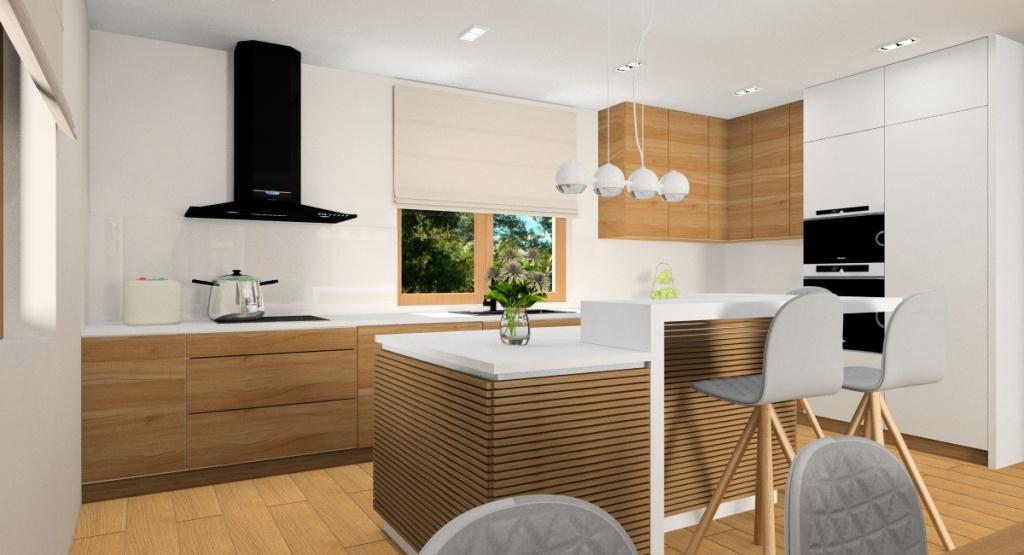 Projekt salonuz kuchnią w kolorach beż, szary, biały i drewno