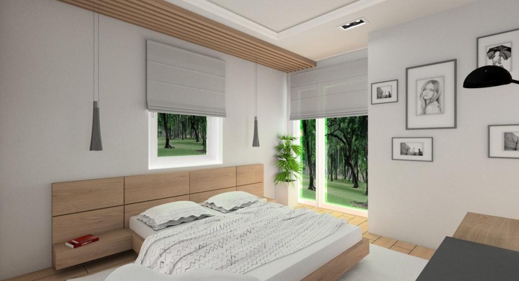 Projekt sypialni, nowoczesna aranżacja, sypialnia z dwoma oknami