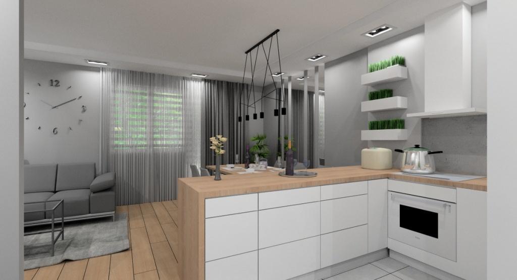 Projekty salonu z kuchnią, nowoczesny salon, kuchnia otwarta na salon, duży zegar na ścianie, sufit podwieszany