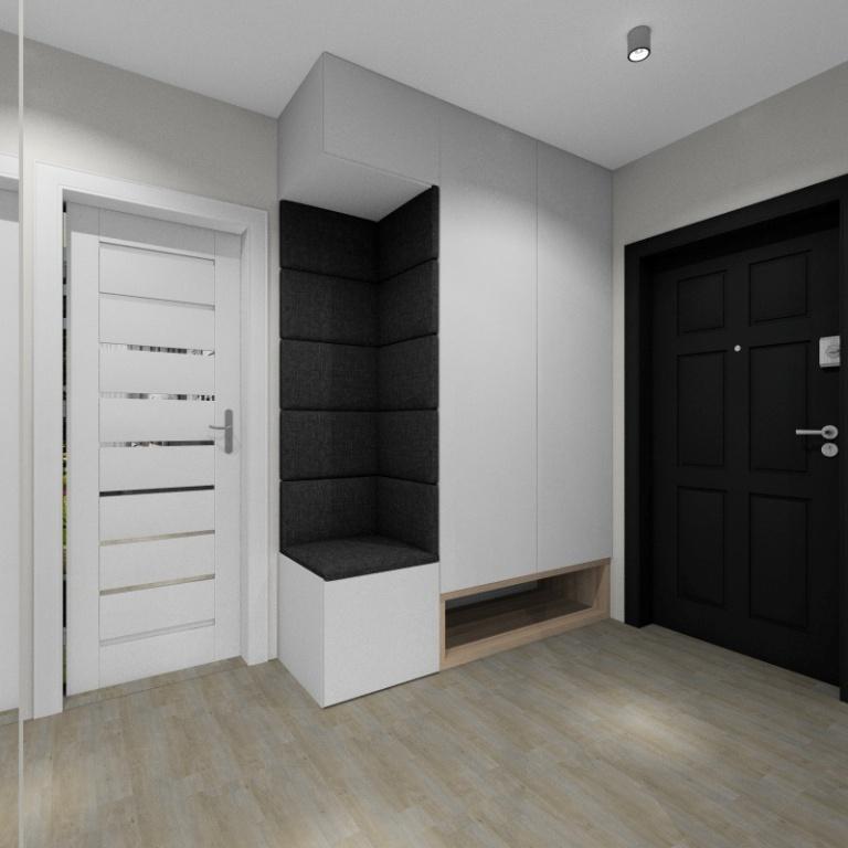 Przedpokój, styl skandynawski, małe pomieszczenie, Szafa biała z siedziskiem tapicerowany, miejsce na buty wkomponowane w szafę