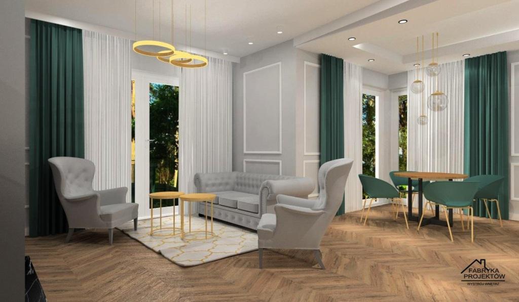 Salon: aranżacja w stylu nowojorskim i glamour