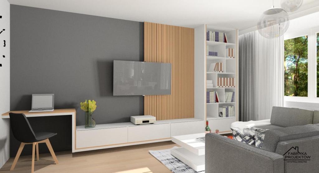 Salon, aranżacja ściany tv, panele drewniane, regał, szafka rtv