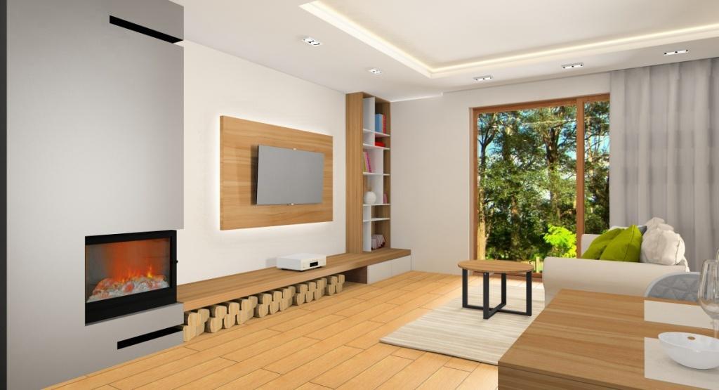 Salon z kominkem, kuchnia z wyspą, projekt wnętrza w kolorach, biały, beż szary i drewno