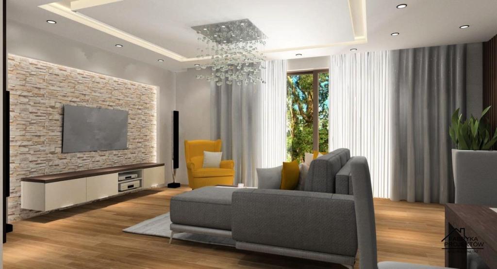 Salon, kamień dekoracyjny na ścianie TV