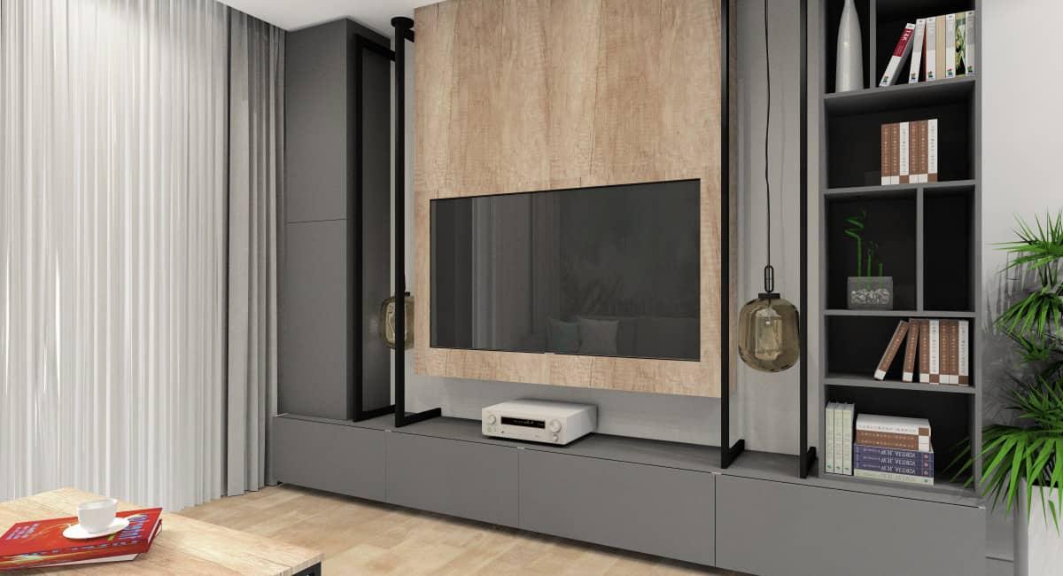 Salon, kuchnia, hol, ściana TV w salonie, drewno, salon w kolorach szary, drewno, czarny