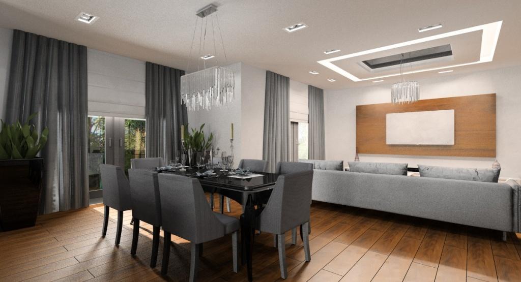 Salon, kuchnia, jadalnia, hol, aranżacja w stylu glamour