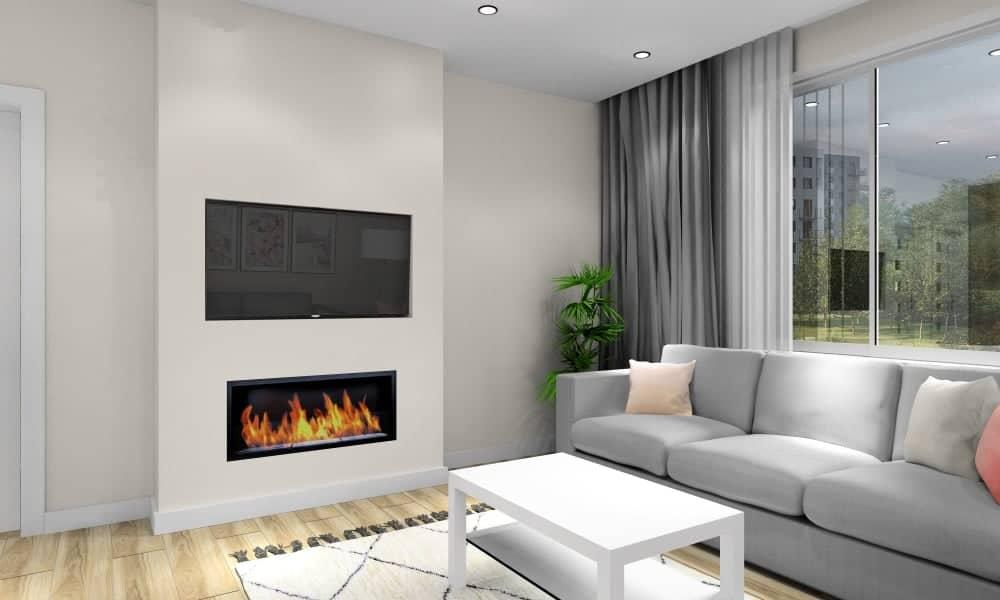 Salon, kuchnia, pomysł na ścianę TV, biokominek pod TV