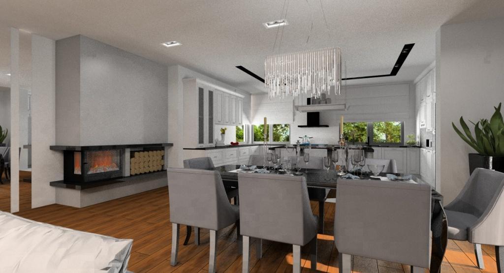 Salon połączony z kuchnią i hol, projekt w stylu glamour