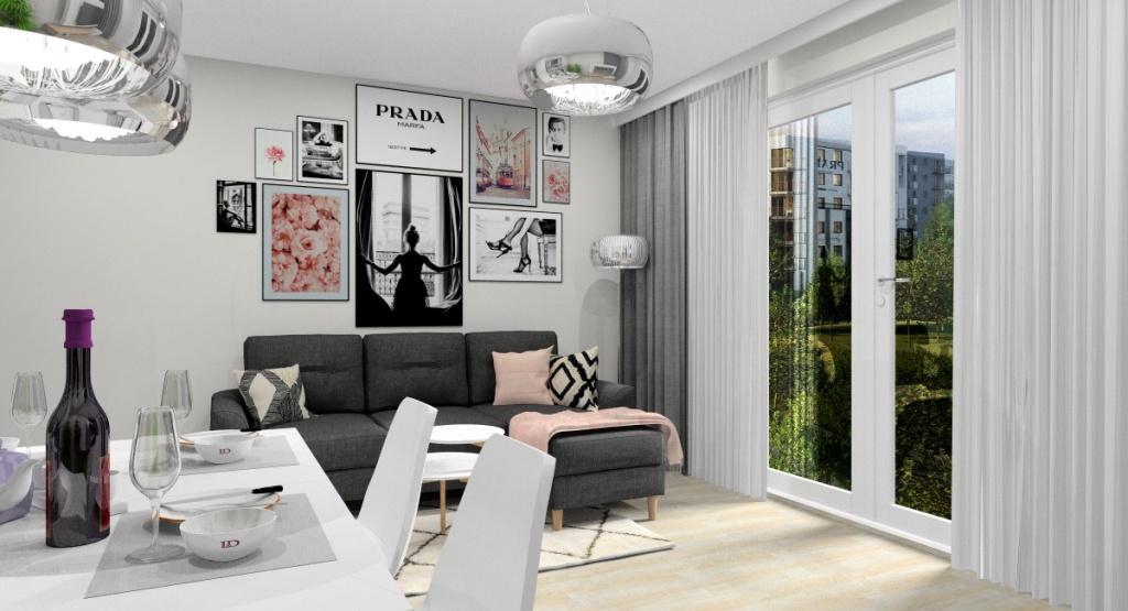 Salon średni w stylu skandynawskim, jasne wnętrze, plakaty skandynawskie na sofa narożną