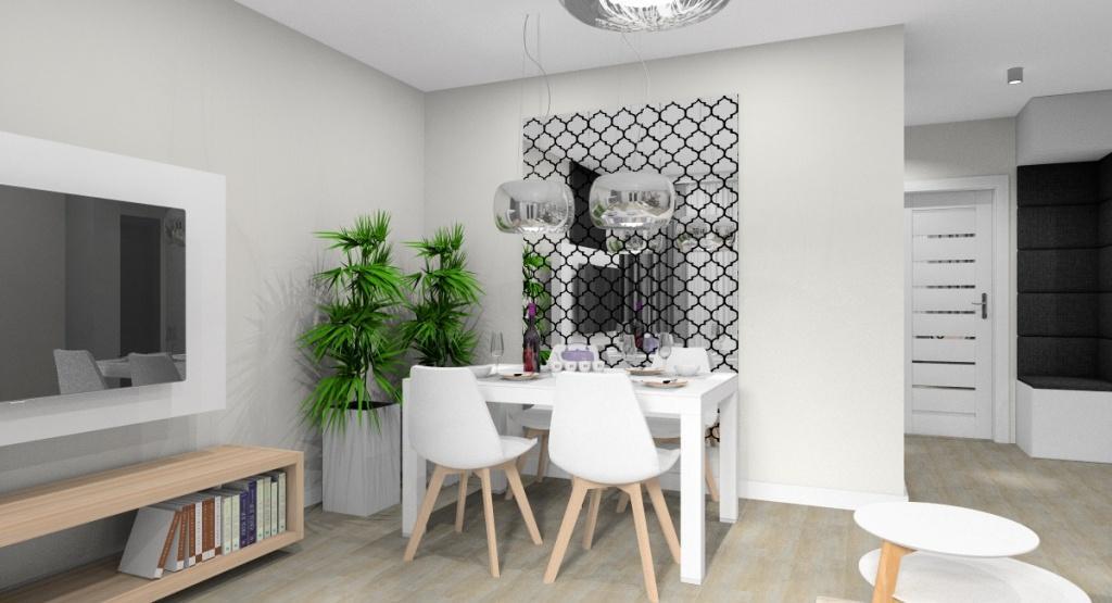 Salon, widok na ścianę ze stołem białym, krzesła białe, lustro koniczynka na ścianie