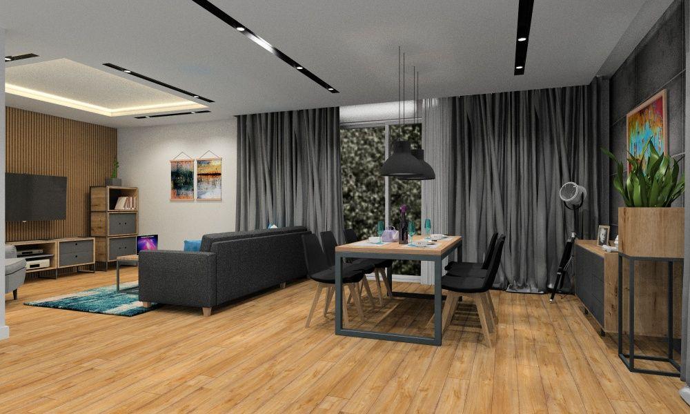 Salon w stylu industrialnym. Zdjęcia, Cegła, beton, lite drewno, metal
