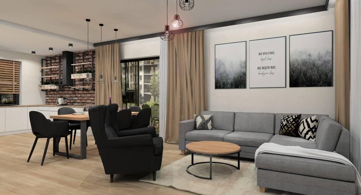 Salon z aneskem kuchennym, pomysł na ścianę z cegłą, plakatami