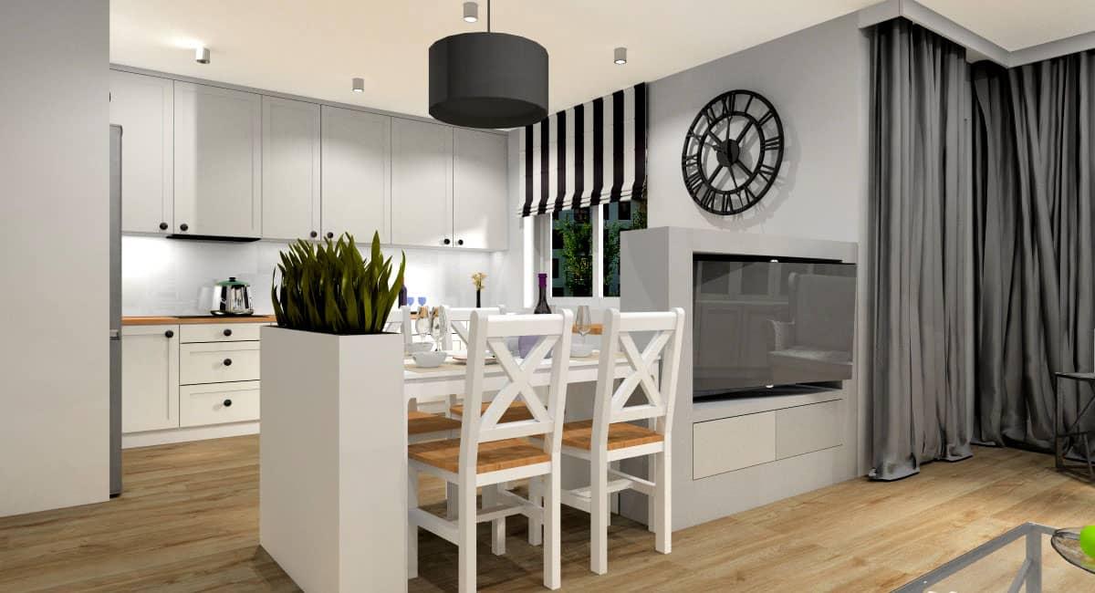 Salon z aneksem kuchennym, pomysł na projekt wnętrza w stylu nowoczenym-klasycznym, pomysł na sufit podwieszany