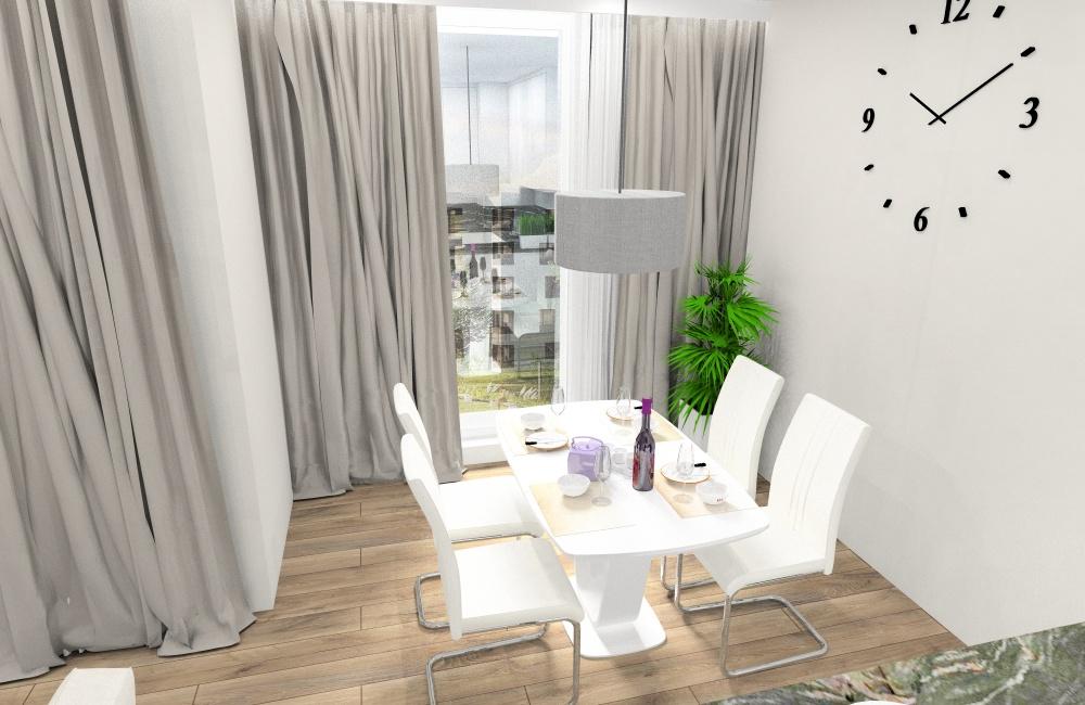 Salon z aneksem kuchennym, powierzchnia 36 m2, bezowe zasłony, biały stół, beżowa sofa