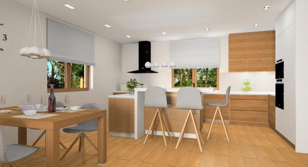 Salonz kuchnią, projekt wnętrza w ciepłych kolorach beż, szary, biały i drewno