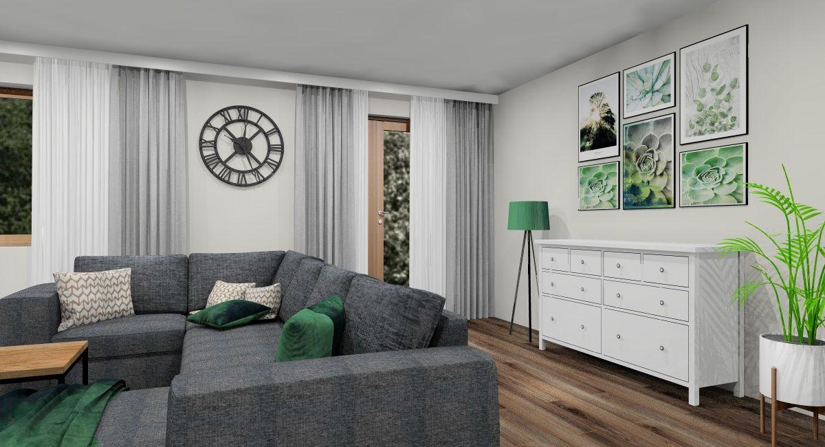 Salon, białe meble, zielone dodatki, rośliny, drewno