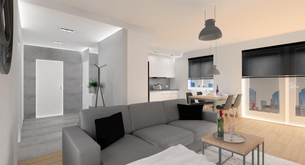 salonu z kuchnią, przedpokój w stylu industrialnym, beton na ścianie w przedpokoju, lustro do sufitu, stół dla 4 osób, żaluzje w oknach