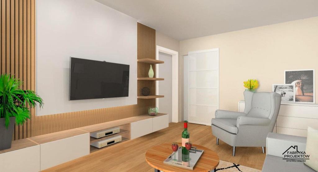 salon, panele drewniane na ścianie telewizyjnej