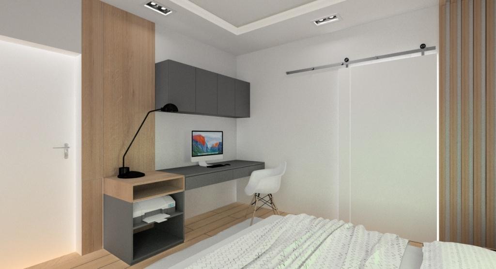 Sypialnia, miejsce do pracy w sypialni, biurko